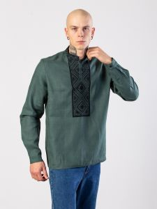 Купить вышиванку в Киеве Мужская рубашка из зеленого льна с геометрической вышивкой Troyan