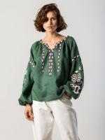 Вышиванка со льна с растительным орнаментом Butterfly green