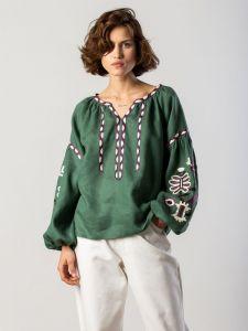 ЕтноДім Вишиванка з льону з рослинним орнаментом Butterfly green