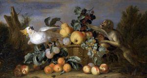 Штрановер Тобиас Натюрморт с фруктами в корзине, обезьяной и попугаем какаду в пейзаже