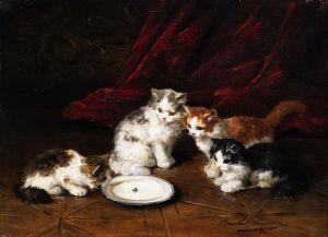 Брюнель де Нёвиль Альфред-Артур Четыре котенка у молока с мухой