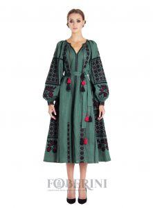 """FOBERINI Платье-вышиванка """"Зелёный шик"""""""