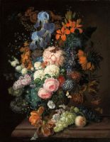 Натюрморт с цветами и фруктами на каменном выступе