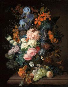 Барокко Натюрморт с цветами и фруктами на каменном выступе
