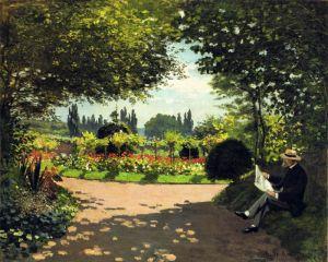 Моне Клод Адольф Моне читает в саду