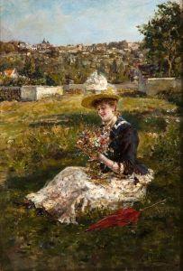 Молодая женщина с букетом