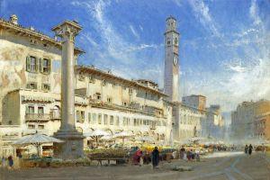 Гудвин Альберт Цветочный рынок на площади Дель Эрбе, Верона, Италия