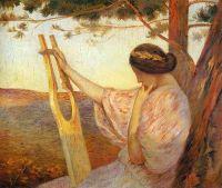 Дама с лирой у сосен