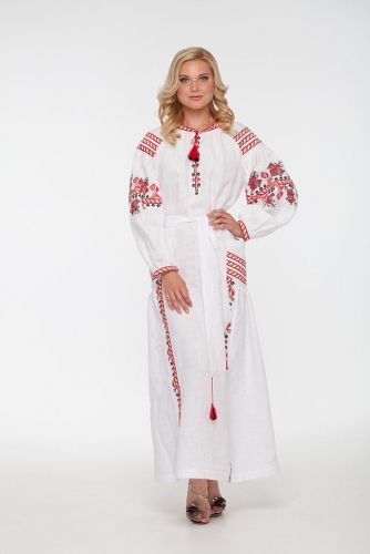"""Вышитое платье """"Молодая лилия"""" белое"""