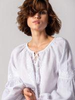 Белая блузка с белым растительным орнаментом Pure