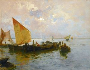 Санторо Рубенс Парусные лодки в лагуне, Венеция