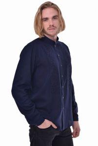 Мужские вышиванки Мужская рубашка «Сила» темно-синяя