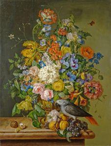 Барокко Пара. Цветочный натюрморт с попугаем