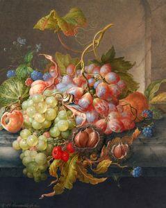 Хенстенбург Герман Натюрморт с фруктами, каштанами и улиткой