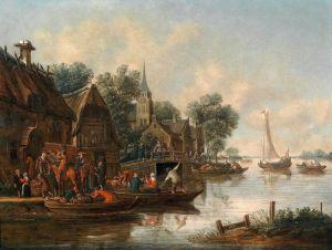 Хереманс Томас Таверна на берегу реки с фигурами