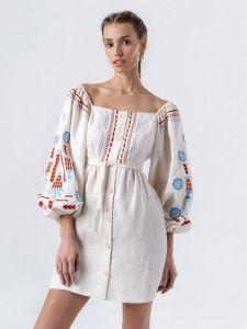 Платье вышиванка ручной работы Льняное платье молочного цвета MOZAIKA
