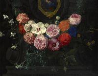 Гирлянда цветов, окружающая картуш с Мадонной и младенцем