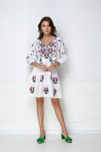 Одежда из льна «Омелия Шик» белое мини-платье