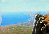 Берег моря со скалой