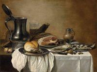 Натюрморт с ветчиной, сельдью, оловянным кувшином, хлебом и др объектами