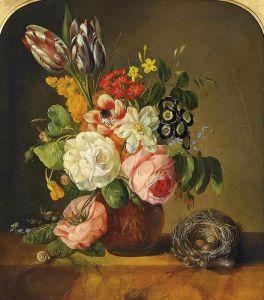 Барокко Натюрморт с цветами в терракотовой вазе и птичьим гнездом