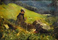 Девушка вяжет в поле