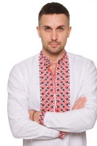 """Embroidered apparel - Men Вишиванка чоловіча """"Дві стихії"""" червоно-чорна"""