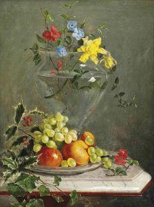 Барокко Натюрморт с цветами в стеклянной вазе и фруктами на блюде на мраморном выступе