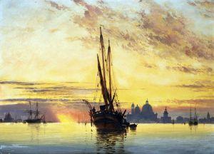Романтизм Закат, Венеция, Санта-Мария-делла-Салюте вдали