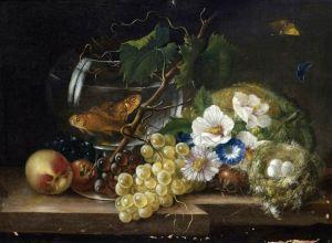 Барокко Натюрморт с цветами, фруктами, золотыми рыбками и гнездом