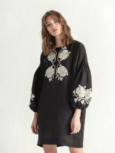 ЕтноДім Черное льняное платье с цветочным орнаментом Muse
