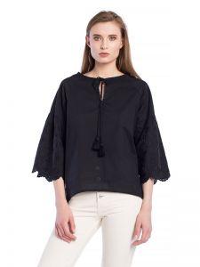 Женские вышиванки Черная батистовая блузка с вышивкой SOFT Black