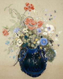 Редон Одилон Цветы в синей вазе