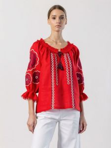 Вишиті жіночі сорочки ручної роботи Вишиванка з червоного льону та бахромою Solar