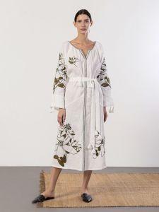 Жіночі вишиванки ручної роботи  Лляна сукня світло бежевого кольору з вишивкою Nimfeya