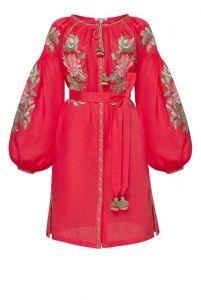 """Платье вышиванка ручной работы """"Вера"""" розовое мини платье"""