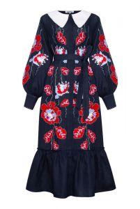 """Платье вышиванка ручной работы """"Адель"""" синее платье-миди с воротником"""
