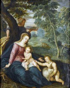 Баллье де Корнелис Старший Круг. Святое семейство с юным Иоанном Крестителем в пейзаже