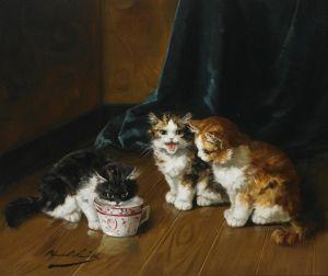 Брюнель де Нёвиль Альфред-Артур Котята у чашки с молоком