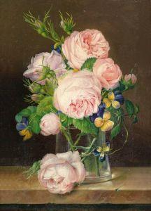 Барокко Цветы в стеклянной вазе