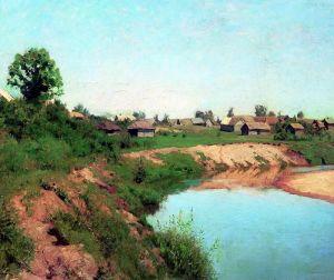 Левитан Исаак Деревня на берегу реки