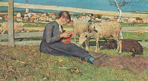 Девушка, вяжущая чулки - изображение 1
