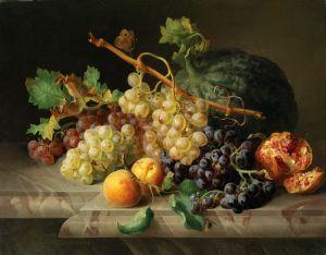Лауэр Йозеф Натюрморт с гранатом, виноградом и дыней