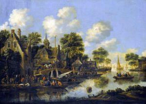 Хереманс Томас Речной пейзаж с деревней, фигурами и лодками