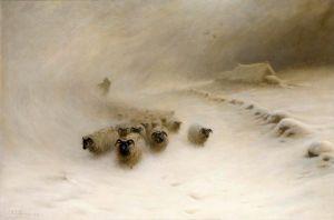 Фаркухарсон Джозеф Стая овец в зимней метели