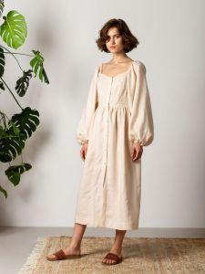 ЕтноДім Легка лляна сукня світло бежевого кольору HAY