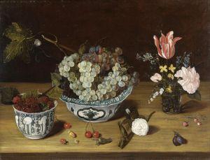 Соро Исаак Натюрморт с виноградом и малиной в фарфоровой посуде и цветами в стеклянной вазе