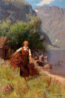 Девушка в пейзаже Фьордов