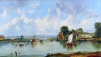 Речной пейзаж с людьми и лодками, замок и город на расстоянии