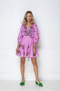 Одежда из льна «Омелия Шик» лиловое мини-платье